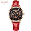 OLEVS Креативный дизайн Женские часы Кожаные стильные женские кварцевые часы Розовое золото Повседневная мода наручные часы 2018 Подарок Новый