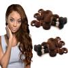 Nami Hair 3 Bundles #4 Color Light Brown Brazilian Body Wave100% Human Hair Extension12-26 No Shedding No Tangle Free Shipping