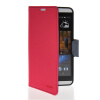MOONCASE Classic cross pattern Leather Side Flip Wallet Card Slot Pouch Stand Shell Back ЧЕХОЛДЛЯ HTC Desire 816 Hot pink