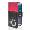 MOONCASE Leather Side Flip Wallet Card Slot Pouch Stand Shell Back ЧЕХОЛ ДЛЯ Samsung Galaxy S5 I9600 Pink Black promate akton s5 чехол накладка для samsung galaxy s5 black