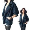 Женщины Ретро Batwing рукавом джинсовой пальто Верхняя одежда Большой отворотом куртки Жан Ковбой верхняя одежда