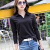 2018 весна и осень новый сплошной цвет грунтовки рубашка лацкане поло хлопок футболка с длинными рукавами женщин рубашка поло printio фк фшм