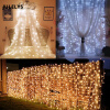 JULELYS 10m x 2m 640 Bulbs LED Свадебный занавес Light Outdoor Christmas Garland String Lights Украшение для Hilday Party Garden 10m 100 led silver wire strip light battery operated fairy lights garlands christmas holiday wedding party 1pc