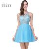 Vestido Curto Real Image Дешевые бисером Тюль Короткие розовые синие платья Homecoming 2018 Сексуальная иллюзия Назад Homecoming Prom Dress homecoming girls