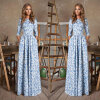 Lovaru ™ 2015 длинное платье печати женщины Половина рукава платья лета Установить и вечернее платье Удобная и элегантная платье maurini платья и сарафаны приталенные
