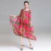 Женщины Летнее платье свободного стиля Природные шелковые платья женская Труба / Русалка Мягкие нежные платья для моды Печатные вестиды большого размера