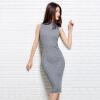 MAZOE простого резьбовые самостоятельных рукавов вязать платье Z1203 серый XXL