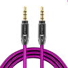 Zinc Alloy Polished Metal Connectors Male To Male Aux Audio Cable 3.5mm Auxiliary Nylon Braided Cord - Rose Pink 3 5mm male to male audio connection nylon cable white red black 1m