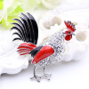 Lucky Zodiac Animal Rooster Pin Brooch для женщин Rhinestone Enamel Броши для животных Броши Кристаллические штыри для ювелирных и шорты t sod
