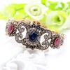 Изысканный турецкий цветок смолы складной браслет браслет регулируемый женщин старинный браслет античный золото цвет свадебные укр
