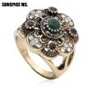 Мода Турецкие женщины Круглый цветок Старинные кольца Античный золотой цвет Полые смолы ювелирные изделия Индийская свадебная свад