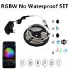Wi-Fi Управление RGBW/WW Светодиодные ленты 5050 компл. неоновый свет с мини Wi-Fi Управление Лер + 12 В Адаптеры питания