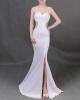 Платье с длинным рукавом с длинным рукавом с длинным рукавом атласный белый халат с длинным рукавом
