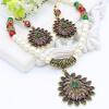 Урожай Турецкие женщины капли воды наборы ювелирных изделий Имитация жемчужина ожерелье полые серьги цветок античный золотой цвет