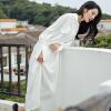 Wei Yaji рубашка юбка весна длинные свободные рукава летучая мышь небольшой свежий солнцезащитный крем побережье праздник платье с белый свитер летучая мышь