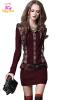 S M L Высокое качество сундук 86-92 см махровые осень зима 2017 мини женщин свитер платье длинный рукав красный плед повязка с кап