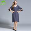 Женское кашемировое платье зимнее шерстяное платье Толстое теплое Среднее длинное румяное кашемировое кашемировое платье с рукавом V-образным вырезом плюс размеры XXL