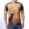 Мужские O-образные вырезы для ног Elk Forest Print Pullover T-Shirts толстовка кенгуру fallen brooklyn pullover hood forest green