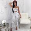 Вскользь без бретелек Crop Top и High Wais Pencil Pants Women Two Piece Set 2018 New Fashion Print 2 Piece Set Suit Женская одежда