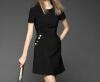 Lovaru ™2015 осень и зима в Европе и Америке новый короткими рукавами шею платье просто бо цветом юбка костюм женский к 2015 году новый hm шторм центральной богемии цветочные шифон плать с длинными рукавами летом в европе и америке печати платье плж
