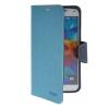 MOONCASE Classic cross pattern Leather Side Flip with Kickstand Shell Back ЧЕХОЛДЛЯ Samsung Galaxy S5 I9600 Blue promate tava s5 чехол для samsung galaxy s5 blue