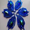 20шт новый стиль моды шить на кристалл глубокий синий rhinestones flatback лист формы 25 * 50мм камни драгоценных камней