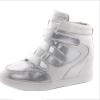 Женщины Лифт липучкой высокого кроссовки обувь клин Скрытая каблука ботинка лодыжки кир булычев клин клином