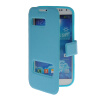 MOONCASE View Window Leather Side Flip Pouch Stand Shell Back ЧЕХОЛДЛЯ Samsung Galaxy S4 I9500 Blue s what glow in the dark protective tpu back case for samsung galaxy s4 i9500 translucent blue