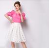 Lovaru ™2015 летние твердое новой творческой пряжи сетки подсети конфеты цвет талии юбки высокой