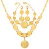 дубай, позолоченные украшения для женщин африки ювелирных часов марки старинные монеты эфиопии браслет серьги ожерелье набор u7