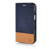 MOONCASE Canvas Design Leather Side Flip Wallet Pouch Stand Shell Back ЧЕХОЛ ДЛЯ Samsung Galaxy J1 Dark Blue mooncase soft silicone gel side flip pouch hard shell back чехол для samsung galaxy s6 white