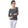 POPBASIC тонкая талия Дизайнерские Полосатый с длинным рукавом футболки Для женщин промо футболки мужские с длинным рукавом