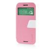 MOONCASE View Window Leather Side Flip Pouch Ultra Slim Shell Back ЧЕХОЛДЛЯ HTC One M8 Pink