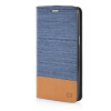 MOONCASE Canvas Design Leather Side Flip Pouch Stand Shell Back ЧЕХОЛДЛЯ Samsung Galaxy Grand Prime G5308W Light Blue