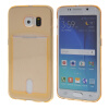 MOONCASE чехол для Samsung Galaxy S6 Edge Flexible Soft Gel TPU Silicone Skin Slim Durable With Card Slot Cover Gold mooncase litchi skin золото chrome hard back чехол для cover samsung galaxy s6 edge красный