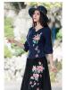 Новый женский китайский ретро этнический стиль Messenger рубашка воротник вышитая рубашка хлопок с пятью рукавом рубашка рукава Cheongsam Top рубашка