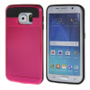 MOONCASE ЧЕХОЛ ДЛЯ Samsung Galaxy S6 Edge Soft Silicone Gel TPU Skin With Card Holder Protective Hot pink mooncase litchi skin золото chrome hard back чехол для cover samsung galaxy s6 edge браун