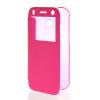 MOONCASE Ultra Thin Leather Side Flip Pouch Hard board Shell Back ЧЕХОЛДЛЯ HTC One 2 Mini( M8 Mini ) Hot pink
