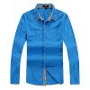 Мужская тонкий хлопок рубашки мужчин мужская Осень пунктом голубые рубашки с длинным рукавом рубашки Железный бизнес