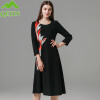 Женская зима Платья шерстяные женские платья Вышивка Черное платье O-образным вырезом A-line теплый Повседневный High Street Модное платье свободно
