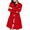 КТ&ХФ женщин элегантные пальто досуг чистый Цвет Сельма куртка с длинным рукавом шерстяные пальто Двубортное пальто