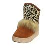 Модные Женщины теплый снег ботинка лодыжки блесток меха леопарда плоским Зимний Лоскутное Чистка
