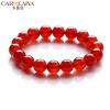 Carweaiya Китайский красный браслет агата Мужчины и женщины Пара Одно кольцо Кристалл Браслет Красный Агат Ювелирные украшения День Рождения Традиция