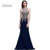 Вечерние платья темно-синего цвета без рукава| Новинки 2018 Платья-русалка для выпускного  новинки