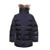 Мужчины Зима капюшоном Теплая куртка Тонкий Длинные Пуффер Куртка меховой воротник пальто Шинель