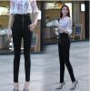Lovaru ™2015 осени большие ярдов жира мм талией джинсы женские ноги карандаш кусочек ретро черный высокой талией джинсы