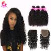 Мечта как 100% человеческих волос Индийские волосы Virgin Curly Wave 3 Связки с закрытием Curly Hair dream like curly human hair 3 связки необработанные индийские волосы из волос