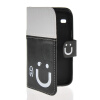 MOONCASE Leather Side Flip Wallet Card Slot Pouch Stand Shell Back ЧЕХОЛ ДЛЯ Samsung Galaxy Core I8260 I8262 Black white накладка для samsung i8262 galaxy core