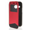 MOONCASE View Window Leather Side Flip Wallet Card Slot Pouch Stand Soft Shell чехол для Htc One Mini 2 ( M8 Mini ) Red чехол для one m8 artske air soft ac uwe m8 white