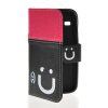 MOONCASE Leather Side Flip Wallet Card Slot Pouch Stand Shell Back ЧЕХОЛ ДЛЯ Samsung Galaxy Core I8260 I8262 Pink Black чехол для для мобильных телефонов oem samsung i8260 i8262 gt i8262